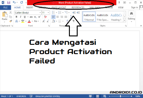 cara mengatasi product activation failed